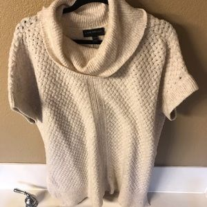 Cream Cowl Neck Textured Tunic Sweater